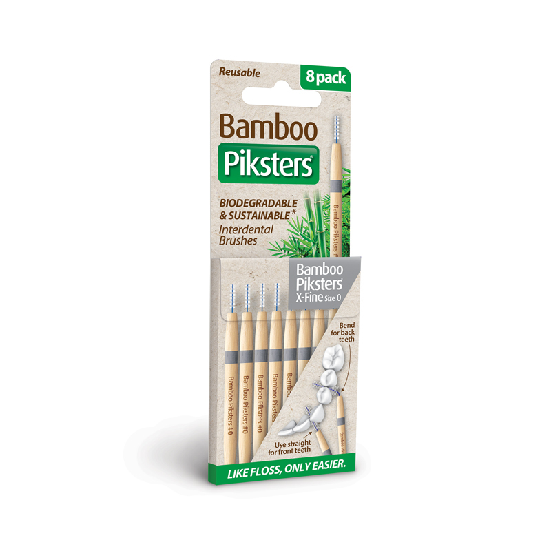 bamboo piksters ragers maat 0 / x-fine donkergrijs / 8st